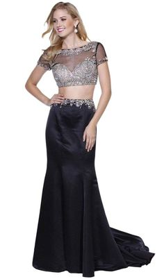Sleek and glamorous! This beautiful two piece dress comes with an elegant long skirt with silver accents along the waist. The sparkling top is embellished with silver gems and beads. A sexy sheer over Prom Dresses Two Piece, Prom Dresses With Sleeves, Prom Dresses For Sale, Two Piece Dress, Party Dresses For Women, Formal Dresses, Long Dresses, Plus Size Black Dresses, Embellished Crop Top