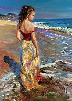 garden painting SEA BREEZE Gallery of artist Vladimir Volegov, portraits of very beautiful women. Woman Painting, Figure Painting, Painting & Drawing, Thanksgiving Art, Garden Painting, Simple Art, Art Plastique, Beautiful Paintings, Art Pictures