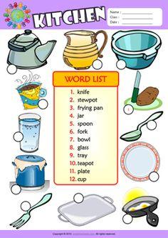 Kitchen Number the Pictures ESL Vocabulary Worksheet