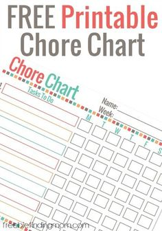 Free Printable Chore Chart for Kids - Customize this free printable chore chart to record your kids' daily duties. Motivate your kids to help out around the house by offering rewards like a gold star, a sweet treat, or an outing to the park.