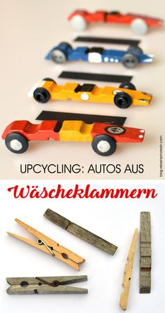 Basteln mit Wäscheklammern: Upcycling-Rennwagen, Autos basteln mit Kindern Crafts with clothes pegs: upcycling racing cars, cars tinkering with children clothespins # car Fun Crafts For Kids, Craft Stick Crafts, Diy For Kids, Activities For Kids, Craft Sticks, Car Crafts, Airplane Crafts, Rainy Day Crafts, Wooden Clothespins