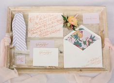 peach and lavender calligraphy invitation suite by Sideshow Press | Eric Kelley #wedding