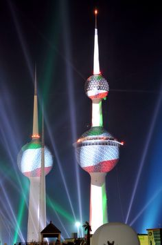 Kuwait flag display on Kuwait Towers during the celebration of National Day and Liberation Day.by:saad Al-Enezi .