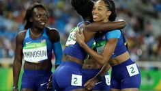08.18.16 Allyson Felix, English Gardner take advantage of second chance, qualify with the best time for the 4x100 relay final tomorrow night. #Rio2016