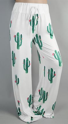 High Waist Cacti Print Wide Leg Pants