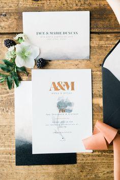 Hochzeitseinladung in Schwarz und Blush