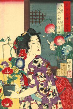 Tsukioka Yoshitoshi (1839–1892), Sixth Month: Fukusuke of Shinbashi with Morning Glories at Iriya from the series of Pride of Tokyo's Twelve Months, 1880. Color woodblock print; 22 ½ x 16 inches. Courtesy Hiraki Ukiyo-e Foundation.