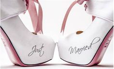 #wedding #shoes #married #groom #bride #white #just #married #pink