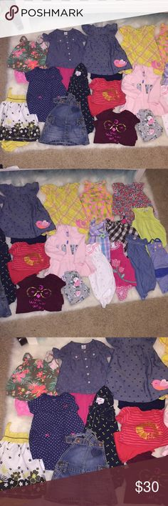 6-9 Month girls outfits 9 rompers, 5 dress tops with matching bloomers, 1 bodysuit w matching pants, 1 chambray too with matching leggings, 1 fleece jacket with matching leggings, 1 denim skirt overalls, 1 short set jumper, 1 long pant jumper =28 pieces Matching Sets
