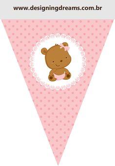 Osita Bebé en Rosa con Lunares: Kit para Imprimir Gratis.