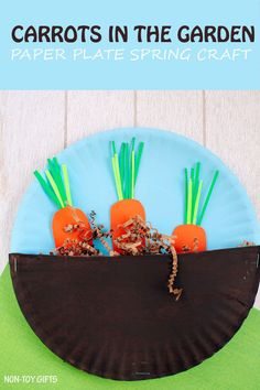 Carrots in the garden craft for kids. Easy paper plate spring or Easter craft for toddlers and preschoolers. | at Non-Toy Gifts (diy butterfly for toddlers)