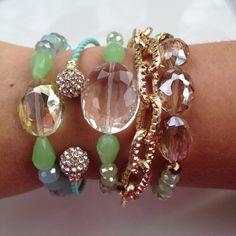 Neon Bracelets, Jewelry Bracelets, Jewellery, Green Turquoise, Aqua, Sea Foam, Bright Green, Bracelet Set, Pearl Earrings