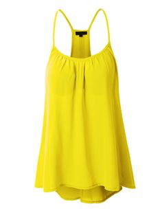 LE3NO Womens Loose High Low Chiffon Racerback Tank Top