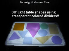Do it Yourself Light Table Shapes Using Transparent Colored Dividers