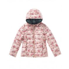 Reversible padded coat with non-removable hood with allover print on one side and solid color on the other. Visible horizontal stitching and welt pockets.