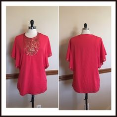 Coral sequin boho peasant Spring top blouse Gorgeous dark coral color with bronze sequins. 100% polyester. Size 3 which fits like an XL. EUC Chico's Tops Blouses