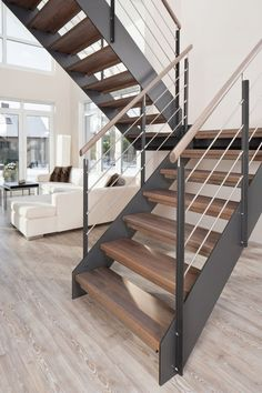 Modern staircase design ideas - browse inspiring pictures of modern staircases. with treads as well as rails crafted from timber, steel, concrete, rock, House Staircase, Staircase Remodel, Staircase Railings, Staircase Ideas, Staircase Decoration, Timber Staircase, Staircase Storage, Staircase Makeover, Attic Storage
