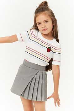 Girls Houndstooth Mock Wrap Skirt (Kids) - Wedding World Kids Outfits Girls, Cute Outfits For Kids, Little Girl Dresses, Girl Outfits, Girls Dresses, Kids Girls, Dresses Dresses, Summer Dresses, Cute Kids Fashion