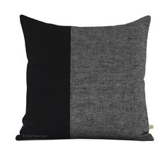 Black Chambray Colorblock Pillow
