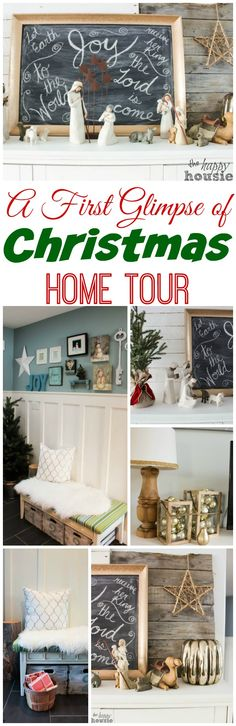 A First Glimpse of Our Christmas Home Tour - Decorating for Christmas, our Christmas mantel at The Happy Housie