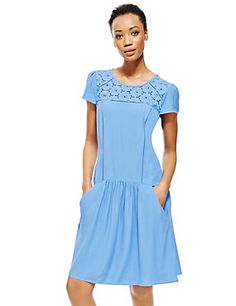 Blue Broderie Yoke Drop Waist Dress