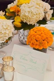 Orange/ivory Centerpiece