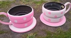 Who knew UPCYCLED TYRES could look so good! Make some for the back yard or for a fairy birthday party! More ideas: http://www.under5s.co.nz/shop/Hot+Topics/Activities/Things+to+do.html