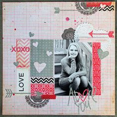Adore You by ekskou at Studio Calico. Crate Paper Fourteen collection. 1/2013 Great scrapbook layout idea!!