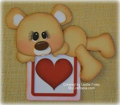 Valentines Lying Bear Premade Scrapbooking Embellishment Paper Piecing
