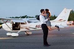 Gorgeous Vintage Pilot Engagement Session by Green Tree Photography