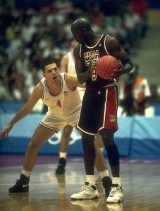With Drazen Petrovic at the Olympics.   # Pin++ for Pinterest #
