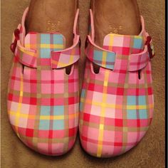 Love the pink plaid in these Birkenstock clogs ... Added to my collection 3 years ago ... SO cute!
