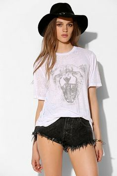Truly Madly Deeply White Leopard Head Burnout Tee - Urban Outfitters