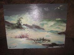 "Peter Hamlett (1919-1972) Listed~WINTER MAINE COAST~Depoe Bay - Oregon~24""X18"