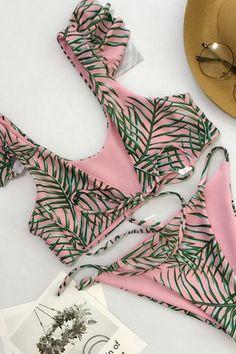 Floralkini Pink Leaf Print Ruffle Knot Front Bikin Set – FloralKini