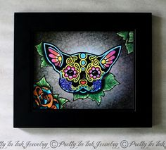 Day of the Dead Black Chihuahua Sugar Skull Art Print by Pretty In Ink Jewelry, $14.95