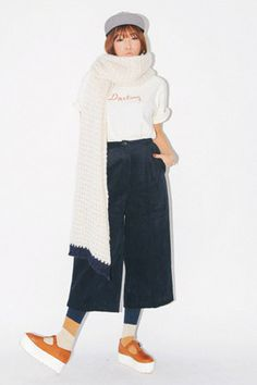 Corduroy Wide Cropped Pants