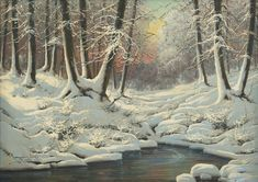 Artwork by Laszlo Neogrady, Snowscape, Made of Oil on canvas