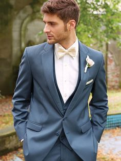 I really want this tux for my guys ! Slate Blue Allure Notch Tuxedo