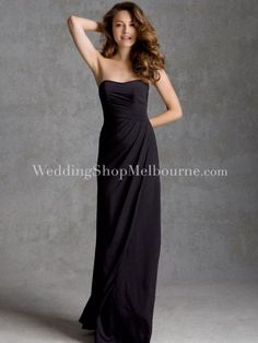 Strapless Full Length Jersey Dress With Ruching - $101.19