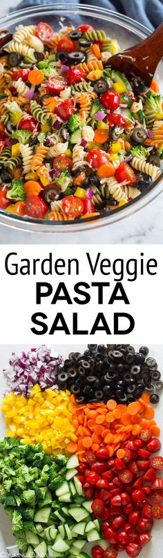 Garden Veggie Pasta Salad - just like what mom made! So easy and so good! #pastasalad #summer #sidedish via @cookingclassy