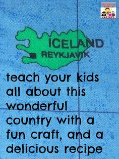 Iceland for kids - Adventures in Mommydom - links to information and recipes are at the bottom. Love lapbooking guide and also her real experience of trying to substitute ingredients, because I have so many of those experiences. Teaching Geography, World Geography, Teaching Kids, Kids Learning, History Education, Teaching History, Preschool Projects, Preschool Activities, Iceland Country