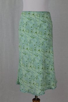 Vintage GAP 1990's Baby blue & Green floral Print Bias Cut Rayon Slip Skirt 2 XS #GAP #Everyday #skirt #vintage #1930's