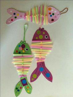 Basteln crafts for kids, fish crafts und kids, parenting. Sea Crafts, Fish Crafts, Diy And Crafts, Arts And Crafts, Paper Crafts, Projects For Kids, Diy For Kids, Crafts For Kids, Art N Craft