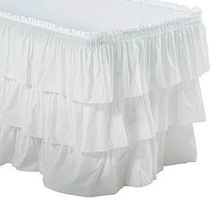 This White 3 Tier Ruffled Table Skirt features beautiful cascading tiers that will give any celebration a simply sophisticated look.