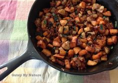 Sweet potato apple and pancetta hash in cast iron skillet