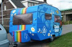Blue graffiti caravan trailer