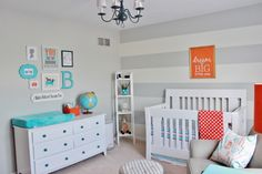 Project Nursery - Gray Striped Orange and Aqua Nursery Room View