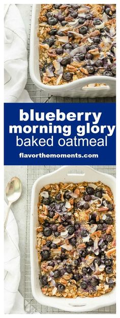Blueberry Morning Glory Baked Oatmeal is a wholesome baked oatmeal packed with blueberries, grated carrot and apple. It's a hearty, nutritious breakfast perfect for weekdays or a special brunch! @FlavortheMoment