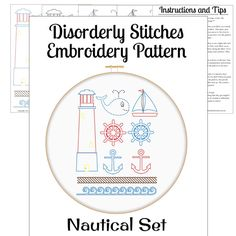 Nautical Set Hand Embroidery PDF Pattern by DisorderlyStitches, $3.50